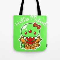 metroid Tote Bags featuring Hello Metroid by Marshu