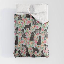 Newfoundland dog owner florals dog pattern print dog breed custom portrait by pet friendly Comforters