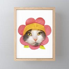 Cute Cat in a Flower Hat Framed Mini Art Print