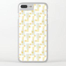 Modern pastel green orange fruit pasta abstract pattern Clear iPhone Case
