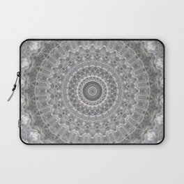 Mandala in white, grey and silver tones Laptop Sleeve