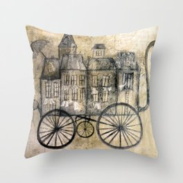 little town transport Throw Pillow