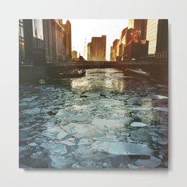 Ice Under the Wabash Avenue Bridge - Chicago, Illinois Metal Print