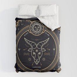 Capricorn Zodiac Gold White on Black Background Comforters