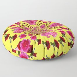 PINK-RED ROSES ON YELLOW-PINK ART Floor Pillow