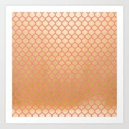 Chic modern coral faux gold quatrefoil pattern Art Print