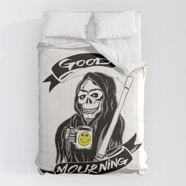 Good Mourning V2 Skulls and Coffee Comforters