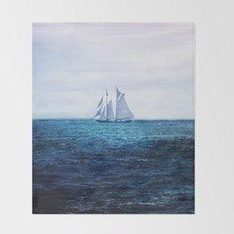 Sailing Ship on the Sea Throw Blanket