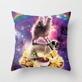Space Cat Llama Pug Riding Nachos Throw Pillow