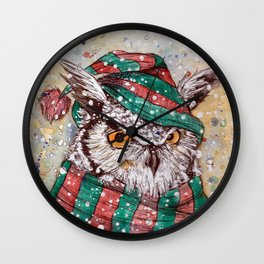 christmas owl Wall Clock