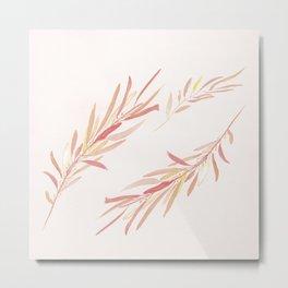 Eucalyptus Leaves Pink Metal Print