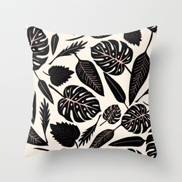 Monstera pattern in black and pastel Throw Pillow