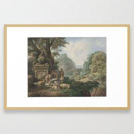 Landschap met herders bij een waterplaats, Jan Willem Pieneman, 1789 - 1853 Framed Art Print