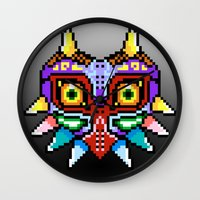 majoras mask Wall Clocks featuring Majoras Mask /Pixel /zelda by tshirtsz