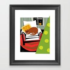 Christmas cat Framed Art Print