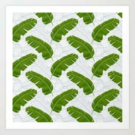 Banana Leaves_ Bg White Art Print