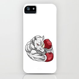Rhino as boxers with boxing gloves iPhone Case
