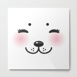 Kawaii funny albino animal white muzzle with pink cheeks and closed eyes Metal Print
