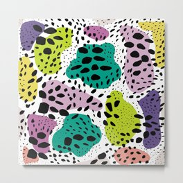 Modern abstract painted black polka dots fashion colors geometric shapes lavender lime Metal Print