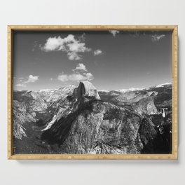 Panoramic Glacier Point Horizon in Yosemite Valley National Park (Black and White) Serving Tray