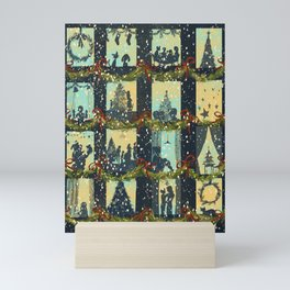 Christmas in the Windows Blue Mini Art Print