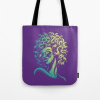 funky Tote Bags featuring Funky Medusa by Waynem