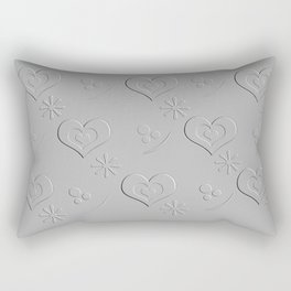 Silver Gray Embossed Heart Abstract Rectangular Pillow