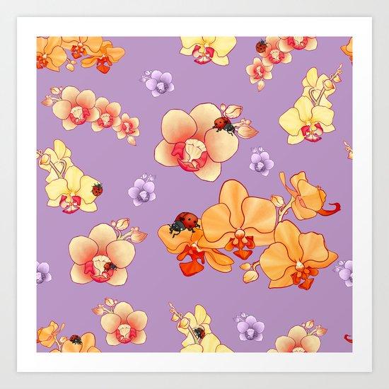Orchids & Ladybirds Art Print