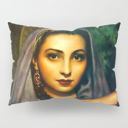 Jesus Helguera Painting of a Calendar Girl with Dark Shawl Pillow Sham
