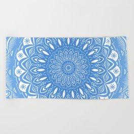 Light Blue Cobalt Mandala Simple Minimal Minimalistic Beach Towel