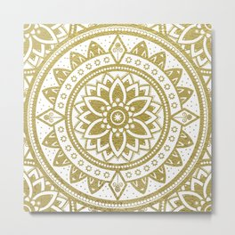White & Gold Patterned Flower Mandala Metal Print