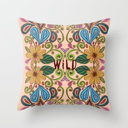 Bohemian Floral Peach version Throw Pillow