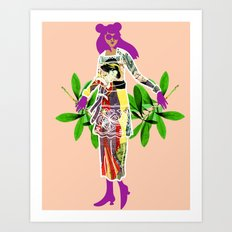 Girl in Utamaro Dress Art Print