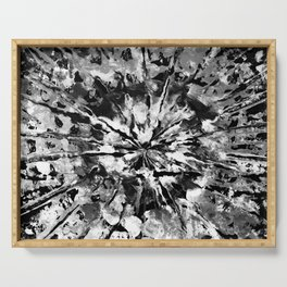 Black Gray & White Tie-Dye Colored Pattern Design // Hand Painted Mandala Multi Media Abstract Serving Tray