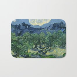 """Vincent van Gogh """"Olive Trees with the Alpilles in the Background"""" Bath Mat"""