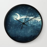 river Wall Clocks featuring Moon River by Paula Belle Flores