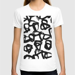 Painted Geometric Black and White T-shirt