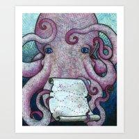 Octopus and his Treasure Map Art Print