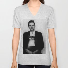 Johnny Cash Mug Shot Country Music Unisex V-Neck