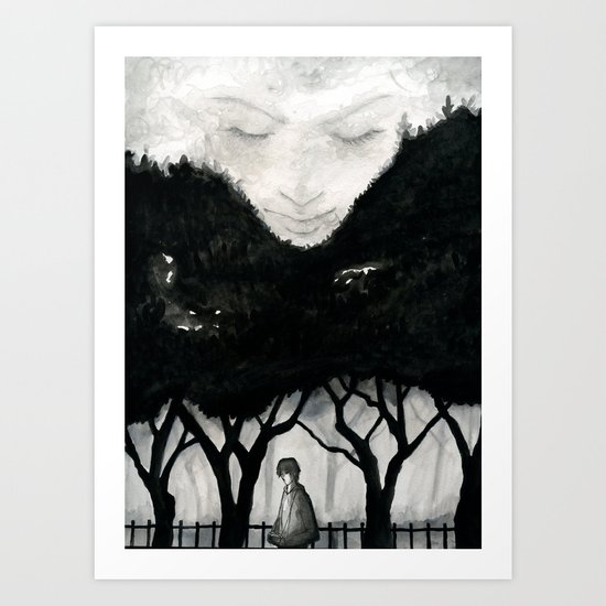 She's watching Art Print