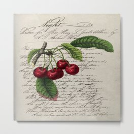 shabby elegance french country botanical illustration vintage red cherry Metal Print