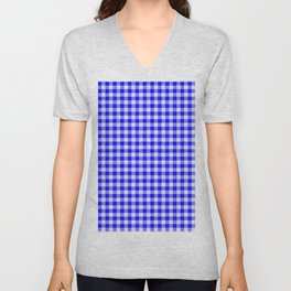 Gingham Blue and White Pattern Unisex V-Neck