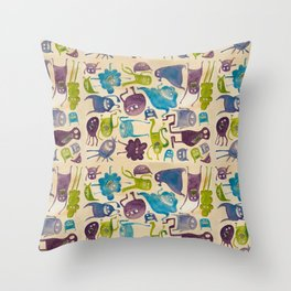 Critter pattern cool Throw Pillow