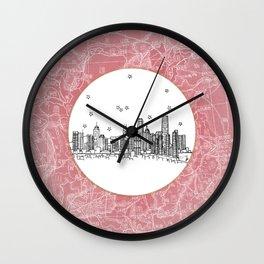 Hong Kong, China City Skyline Illustration Drawing Wall Clock