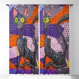 Buttons, The Patch Fabric Black Kitty Blackout Curtain