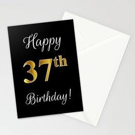 """Elegant """"Happy 37th Birthday!"""" With Faux/Imitation Gold-Inspired Color Pattern Number (on Black) Stationery Cards"""