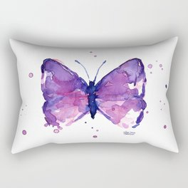 Butterfly Purple Watercolor Animal Rectangular Pillow
