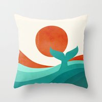 wave Throw Pillows featuring Wave (day) by Jay Fleck