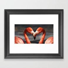 Flamingo Love Couple Framed Art Print