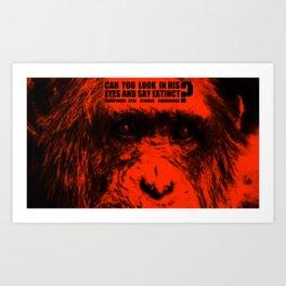 In the eyes of Chimpanzee Art Print